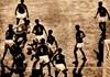 Garrincha na área do México sendo marcado por oito adversários